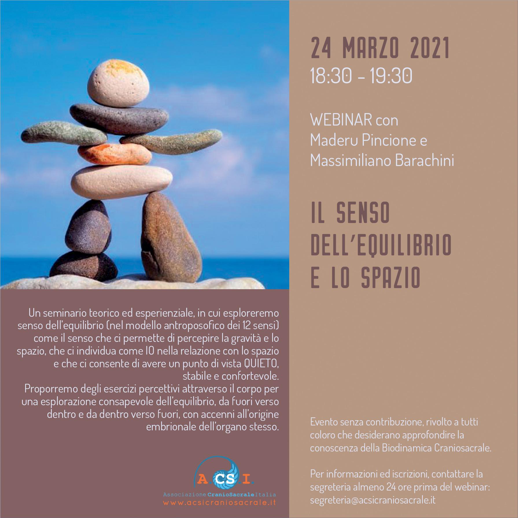 Webinar Soci Istruttori A.CS.I.: Il senso dell'equilibrio e lo spazio