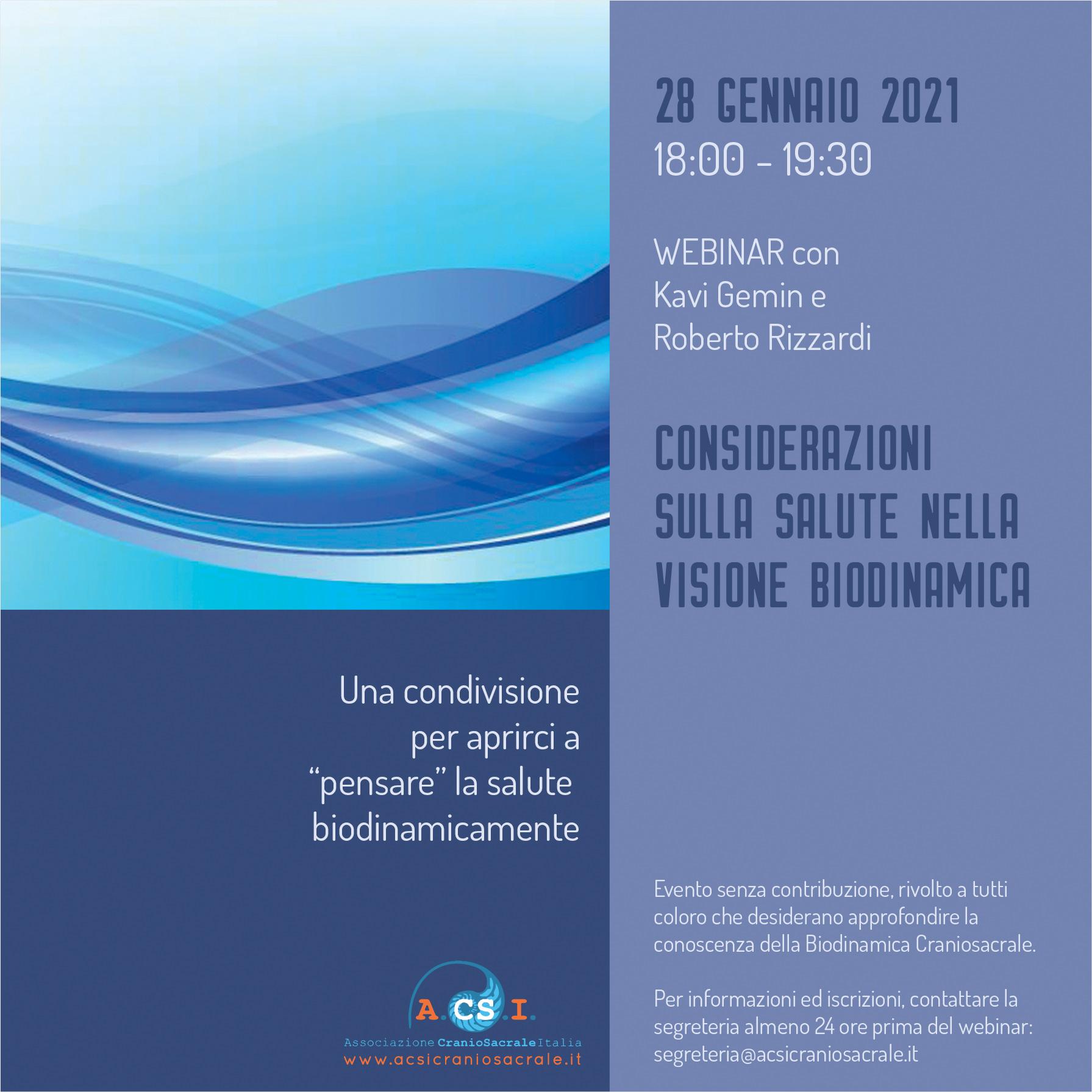 Webinar Soci Istruttori A.CS.I. : Considerazioni sulla Salute nella visione Biodinamica